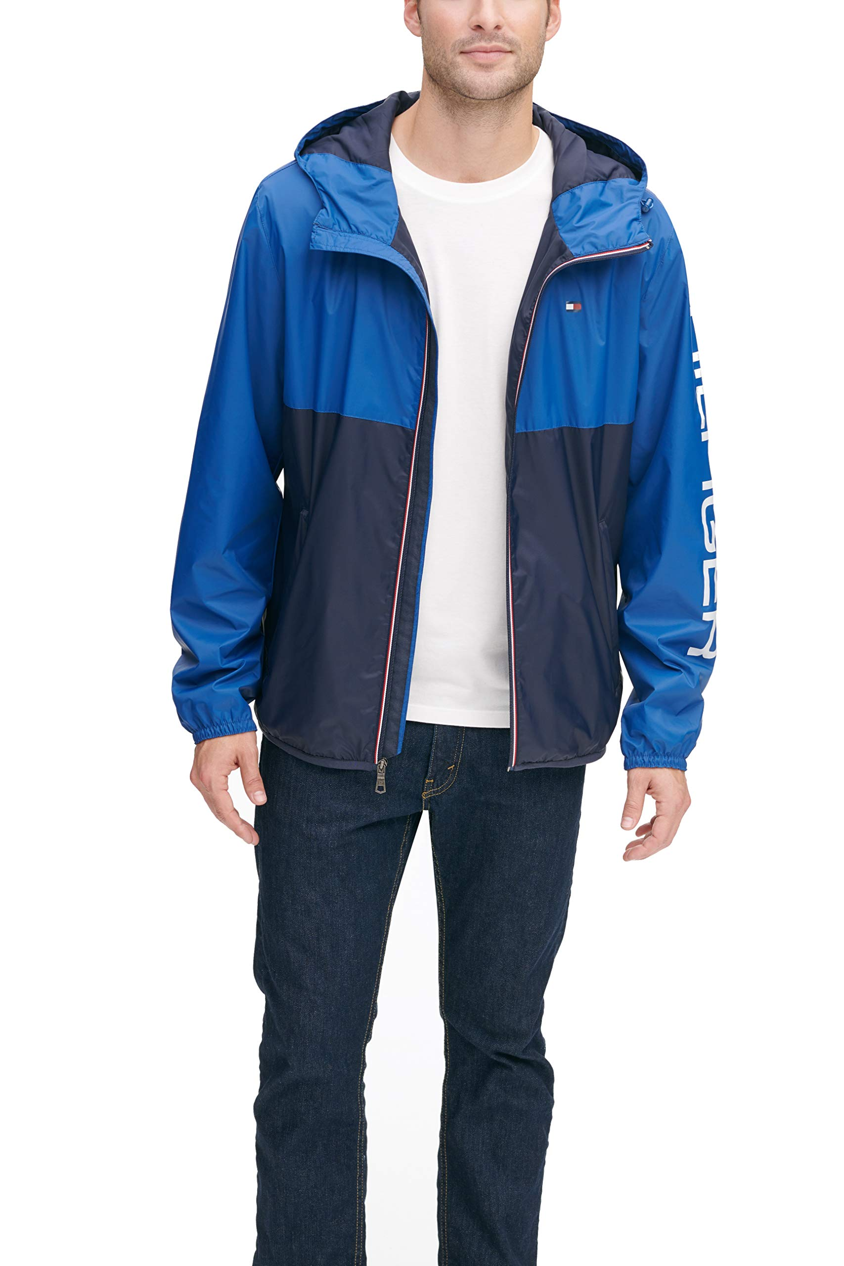 Tommy Hilfiger Men's Color Blocked Logo Rain Slicker Jacket, royal blue/navy, MEDIUM by Tommy Hilfiger