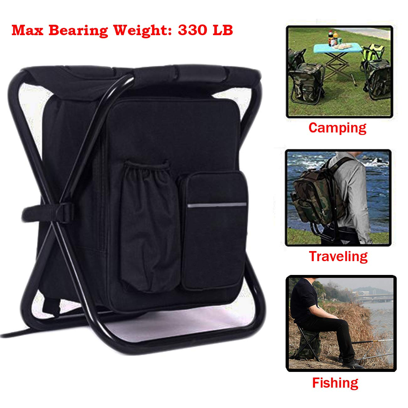 Outdoor Folding Stool Portable Backpack Chair Stool With Insulated Cooler Bag For Camping Fishing Hiking Beach Making Things Convenient For The People Costumes & Accessories