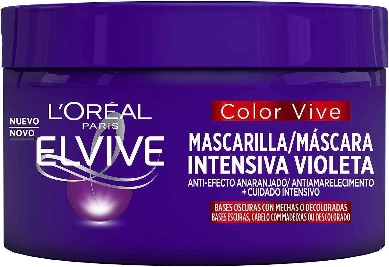 L'Oreal Paris Elvive Color Vive - Mascarilla Intensiva Violeta Matizadora para Pelo con Bases Oscuras con Mechas o Decoloradas - 1 Unidad de 250 ml