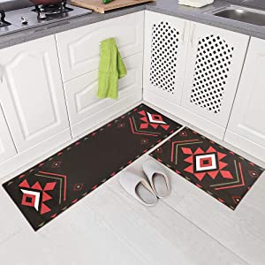 "Carvapet 2 Piece Non-Slip Kitchen Mat Rug Set Bedside Runner Doormat Geometric Design,Red Coffee (15""x47""+15""x23"")"