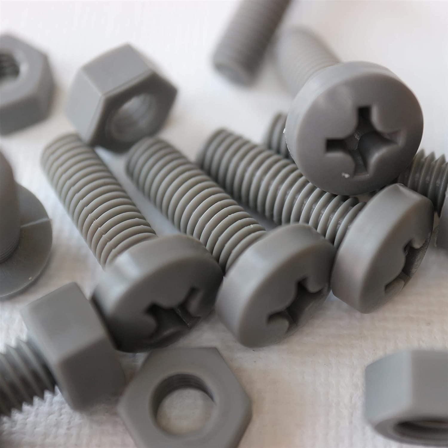 20 x Grey Philips Pan Head Screws Polypropylene PP Plastic Nuts and Bolts Washers Anti-Corrosion Water Resistant Gray Acrylic Chemical Resistant M6 x 20mm Electrical Insulator