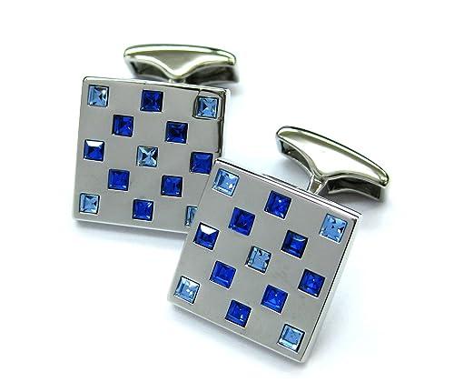 Cristales azules mancuernas de piedras cuadradas Gemelos 052035-2 NB sin caja: Amazon.es: Joyería