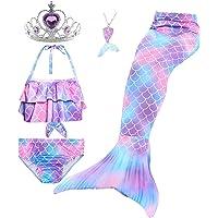 Le SSara 5 Piezas Traje de Baño para Niñas Colas de Sirena para Nadar Princesa Bikini Conjunto de Trajes de Baño Regalo…