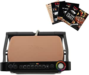 T-fal GC704 OptiGrill Stainless Steel Indoor Electric Grill with Removable and Dishwasher Safe plates,1800-watt, Copper Cream