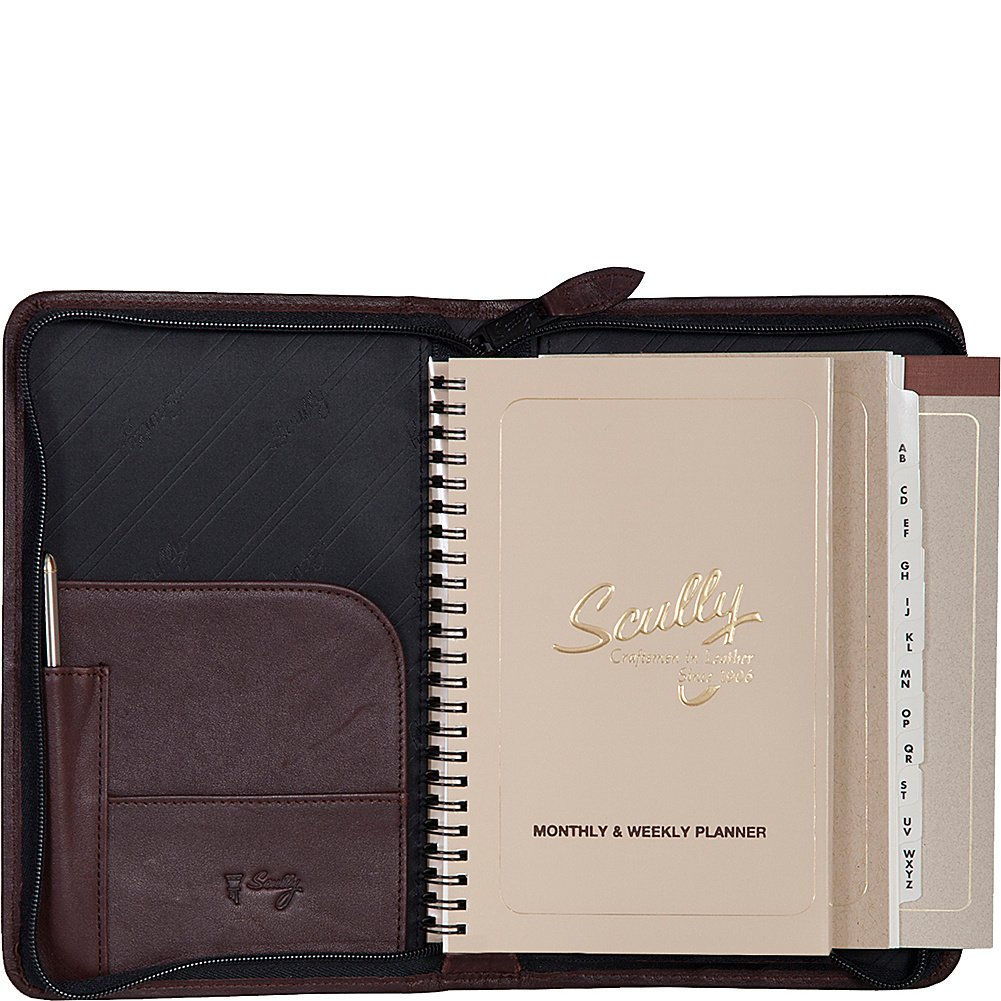 Scully Leather Zip Weekly Planner (Chocolate)