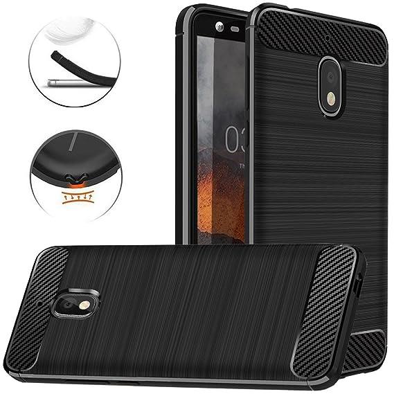 big sale 495b0 ee53d Nokia 2 V Case, Nokia 2V Case, Dretal Carbon Fiber Shock Resistant Brushed  Texture Soft TPU Phone case Anti-Fingerprint Flexible Full-Body Protective  ...