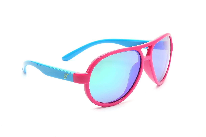TIJN Kids Super Flex Rubber Polarized Aviator Sunglasses for Girls Children 10014702