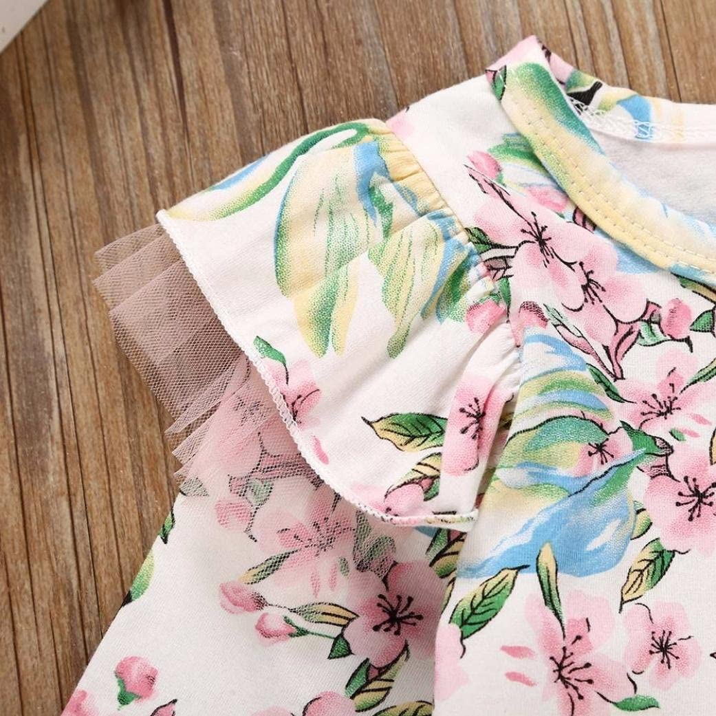 FORESTIME/_baby clothes girl Forestime Cute Infant Kids Girls Print Floral Princess Backless Gauffer Short Sleeves Dresses