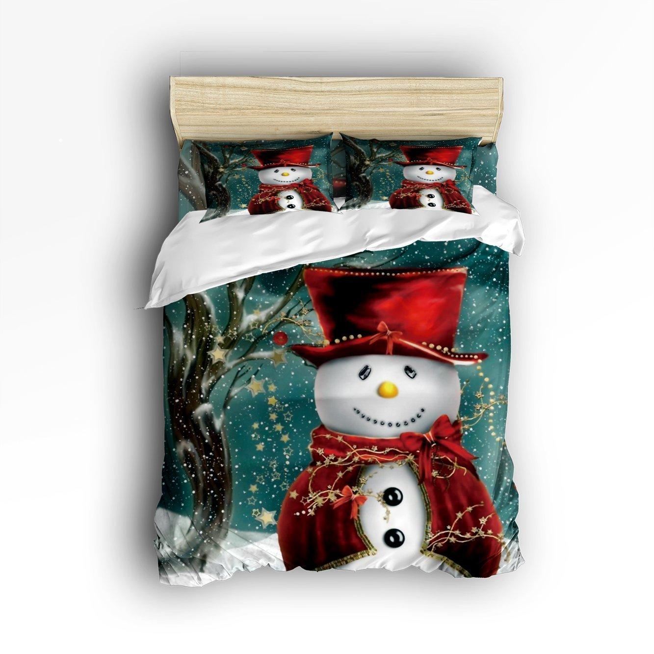 4 Pieces Snowman Winter Christmas Digital Print Home Comforter Bedding Sets Duvet Cover Sets Bedspread for Adult Kids,Flat Sheet, Shams Set Full Size