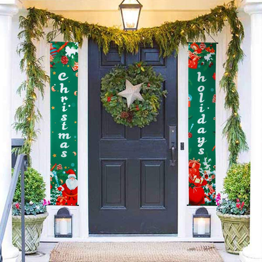 Bandiera Natalizie Decorazione Natale Porta Ingresso Natale 2019 Decorazioni per Negozio Vetrina Finestra Parete Camino Outdoor/&Indoor Verde GeeRic Decorazione Natale