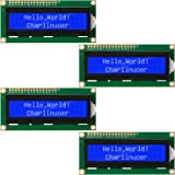 4 Pieces HD44780 1602 LCD Display Module DC 5V 16 x 2 Character LCM Blue Backlight Compatible with Raspberry Pi STM32 DIY Mak