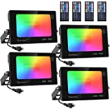 Onforu RGB Flood Light 160W Equivalent, DIY Color Changing LED Stage Lights with Remote, IP66 Outdooor Floodlight, Dimmable S