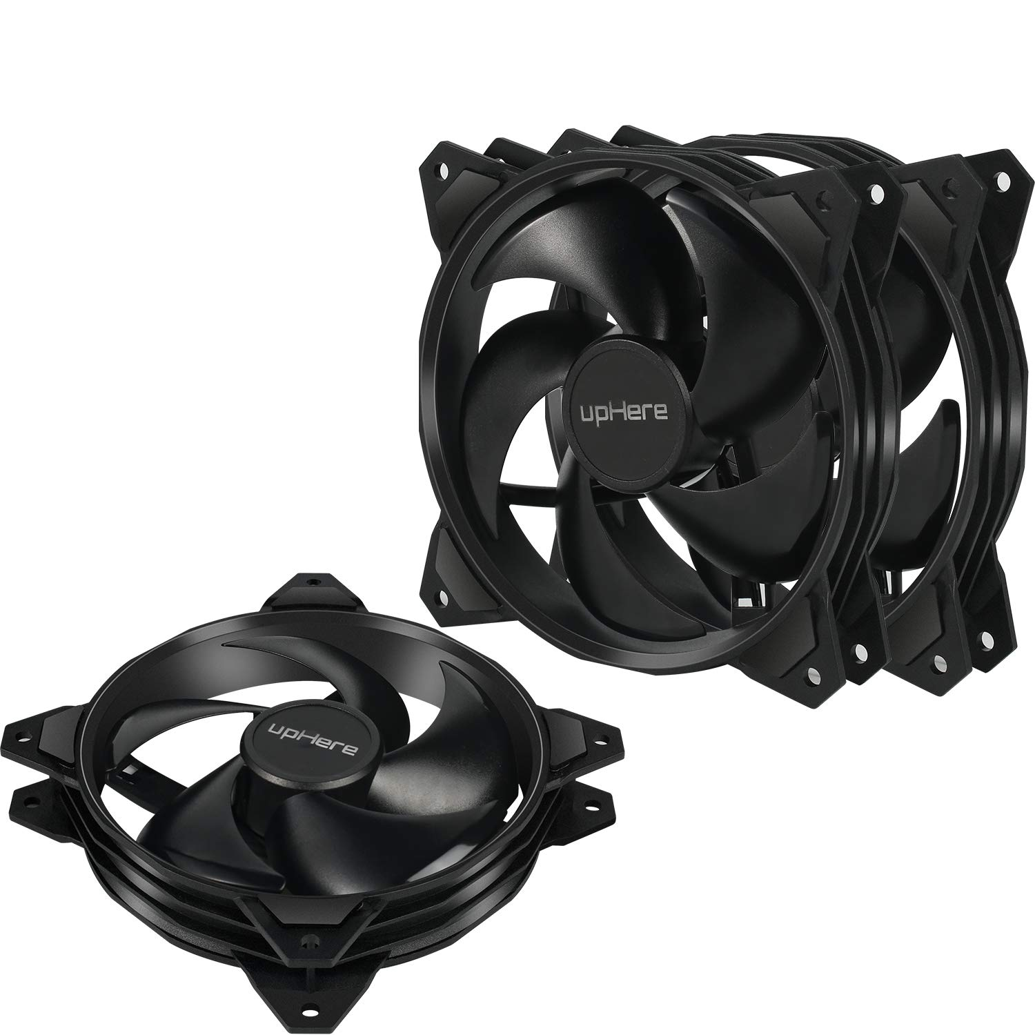 uphere Long Life Computer Case Fan 120mm Cooling Case Fan for Computer Cases Cooling Black 3-Pack, PF120BK3-3