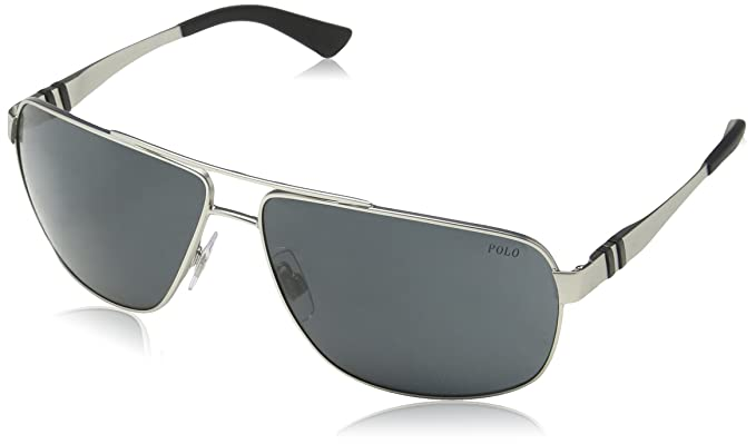 0c2ae9105b68 Polo Ralph Lauren Men's 0ph3088 Rectangular Sunglasses, matte silver, ...