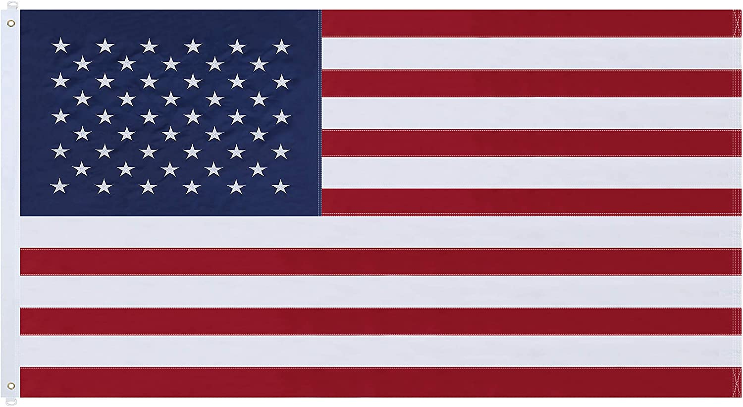 NuLink American Flag 5x8 Ft USA US Embroidered Stars Sewn Stripes Brass Grommets Flag 210D Oxford Nylon for Indoor Outdoor