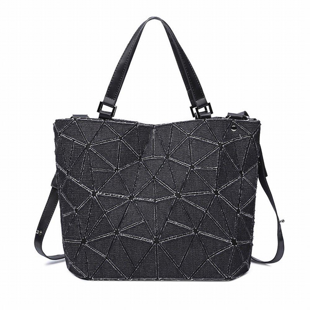 Handtasche Handtaschen Mode Geometrische Raute Denim Eimer Tasche Einfach Lässig Diagonal Paket Schulter , schwarz