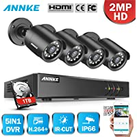 ANNKE 1080P Lite Security DVR Camera System with 1TB Hard Drive and (4) 1080p Weatherproof CCTV Cameras, Easy Remote View, Motion Detection, Free APP