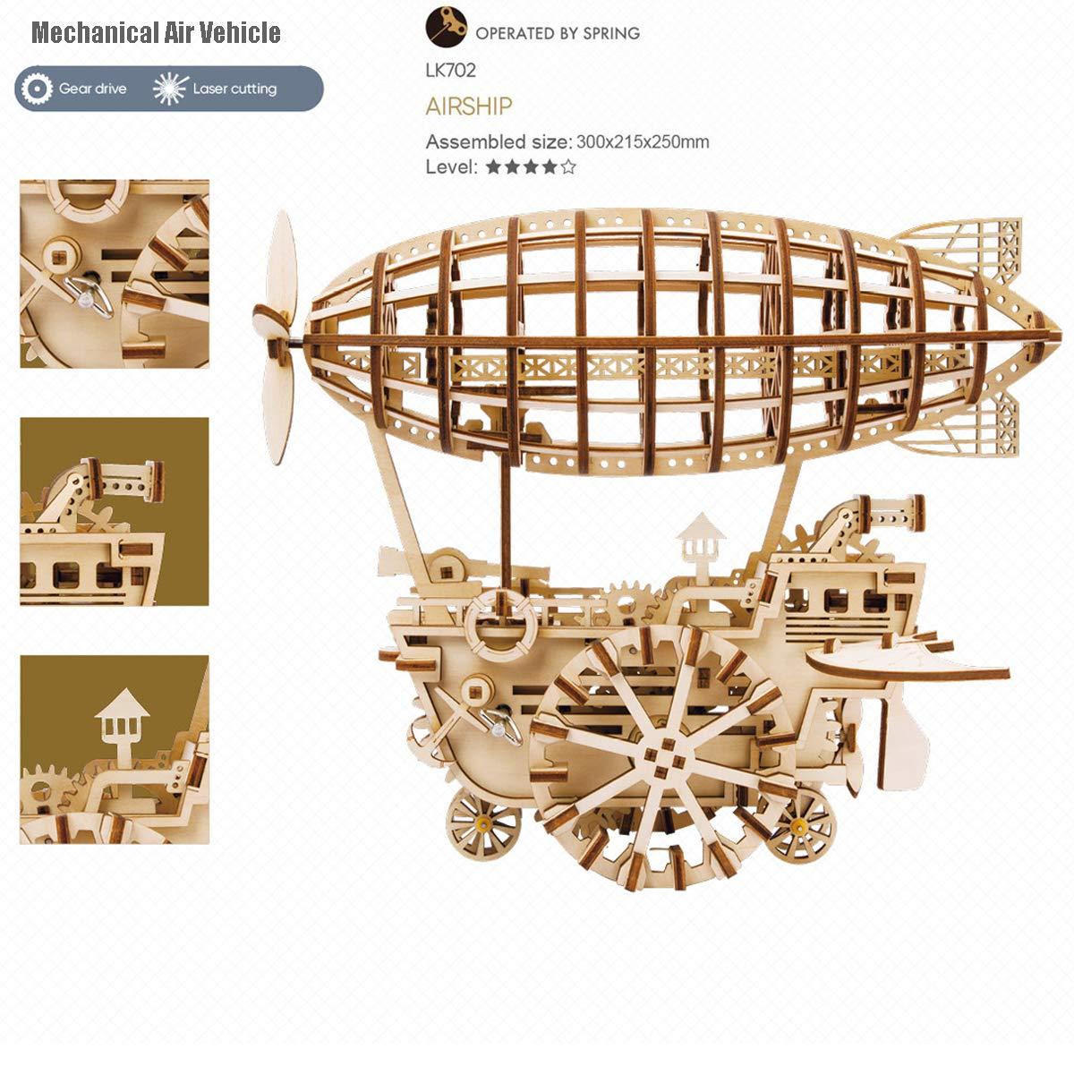 3D h/ölzernes Puzzlespiel Laser-Cut Geb/äude--bewegliche Installationssatz Brainteaser f/ür Kinder Teenager und Erwachsene ROBOTIME Mechanisches Luftfahrzeug-modulares mechanisches Modell