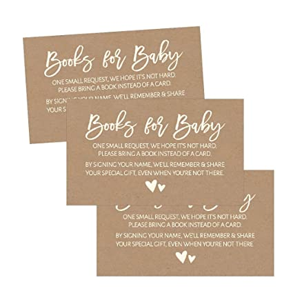 25 Rustic Books For Baby Request Insert Card Girl Or Boy Kraft Shower Invitations