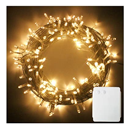 PMS 200 LED String Fairy Lights Clear Cable Battery Power Operated Indoor &  Outdoor for Christmas Tree Xmas Party Garden Decoration(Warm White, 200