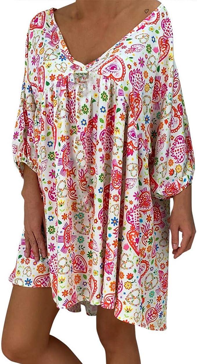 LOPILY Frauen Große Größen Blumenmuster Kleider Boho Stil