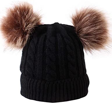FCTREE Baby Hat Infant Toddler Winter Knit Hat Warm Pom Pom Bobble Hat Kids Beanie Cap