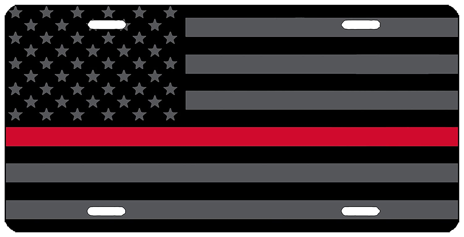 Rogue River Tactical Thin Red Line Firefighter Lives Matter Flag License Plate Novelty Auto Car Tag Vanity Gift For Fire Fighters VA1833