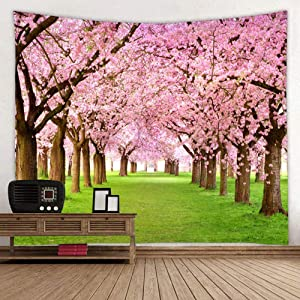 Flower Tree Decor Tapestry for Bedroom, Spring Asian Cherry Blossom Nature Scene Wall Tapestry Garden Landscape Wall Hanging for Bedroom Living Room College Dorm, 60 x 80