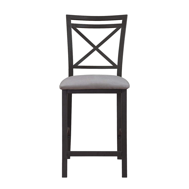 Dorel Living Devon Crossback Counter Height Dining Chair, Black Coffee Gray