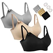 HOFISH Women's Wireless Maternity Nursing Bra Adjustable 3PCS/Pack Silvery-Grey,Beige,Black M