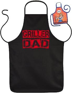 """Divertido Fun delantal Griller """"Dad – Barbacoa de protección con mini ..."""