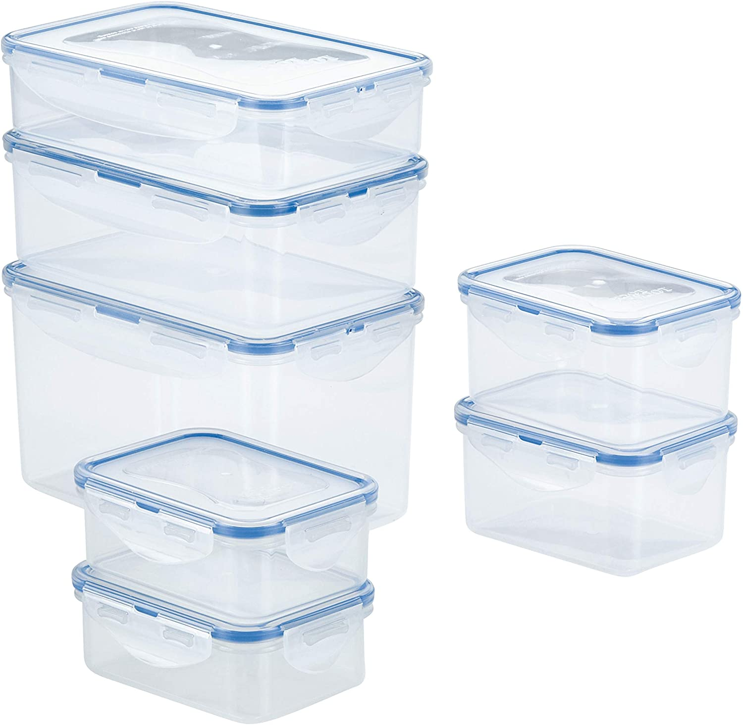 LOCK & LOCK Easy Essentials Food Storage lids/Airtight containers, BPA Free, 14 Piece - Rectangle, Clear