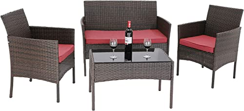 Furnimy 4 Pieces Outdoor Furniture Patio Sets Rattan Wicker Table and Chair Set Outdoor Dining Set Conversation Sets Outdoor Patio Loveseat