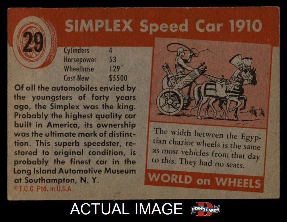 1954 Topps World on Wheels # 29 Simplex Speed Car 1910 (Card