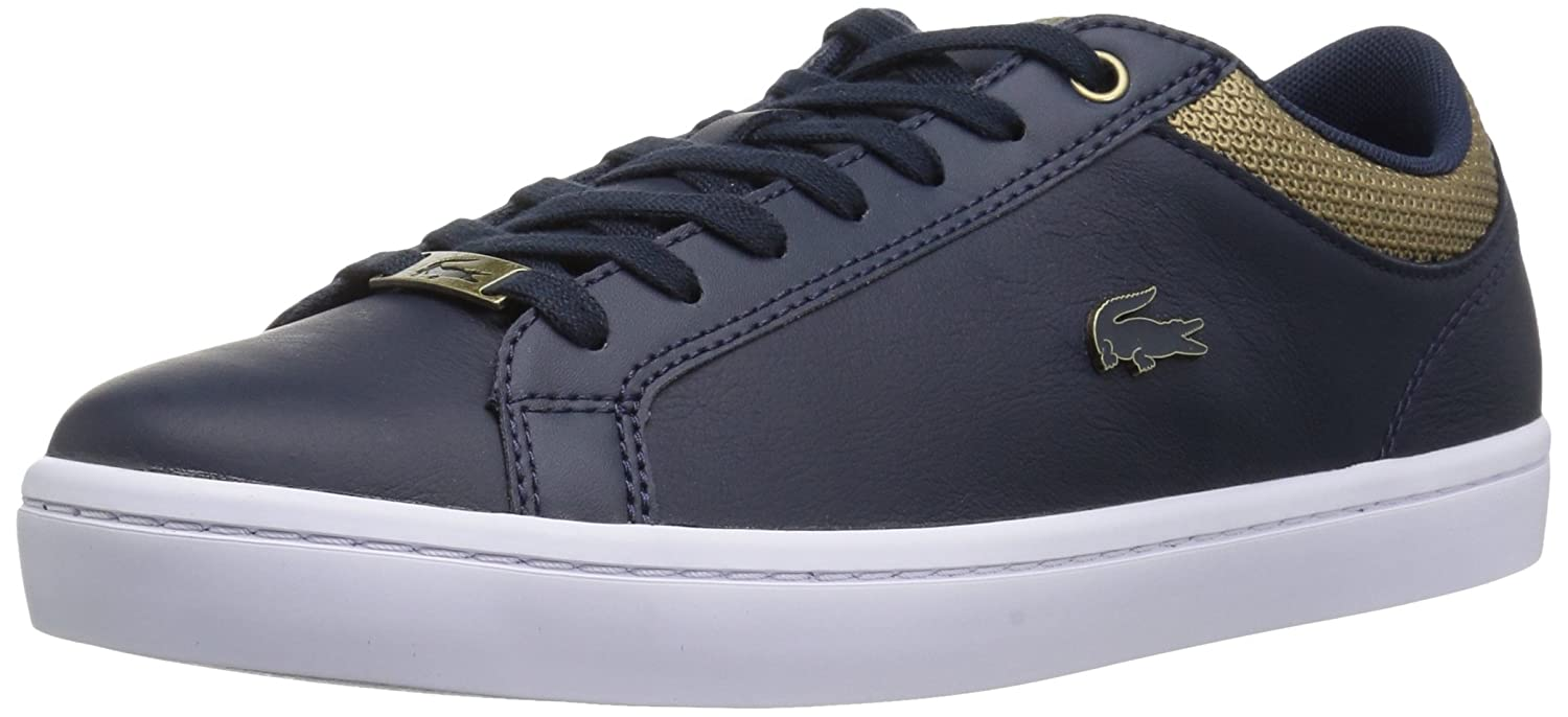 Lacoste Women's Straightset Sneakers B071KB49F1 8.5 B(M) US|Nvy/Gold Leather