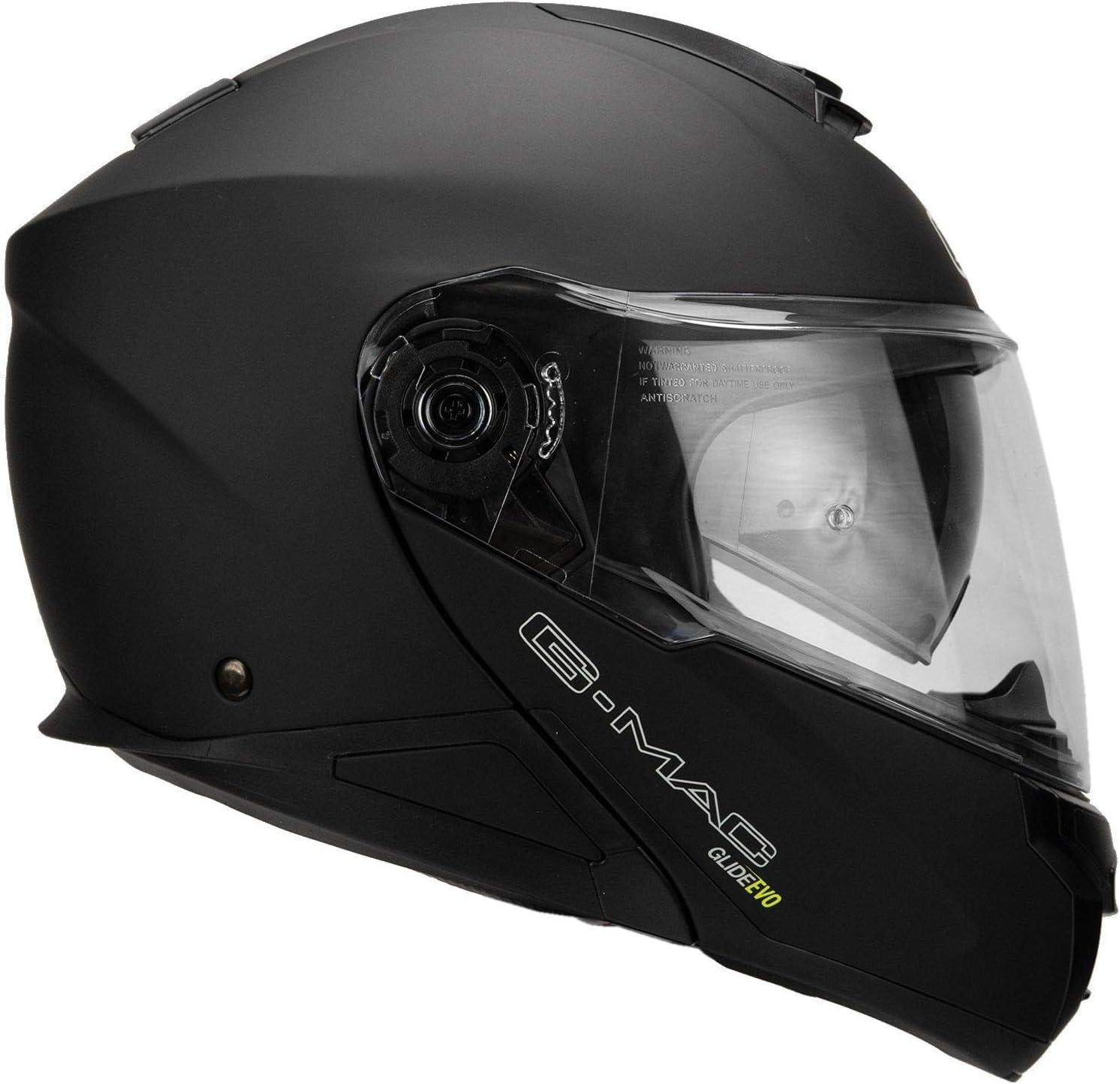 G-Mac Glide Evo Casco de moto con tapa frontal color negro satinado