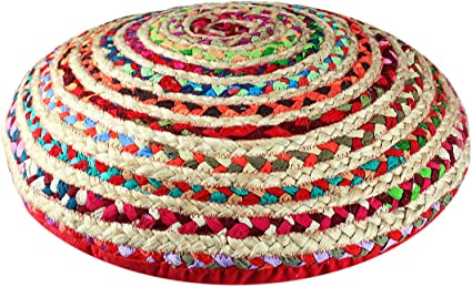 Cotton Craft Jute Cotton Multi Chindi Braid Floor Pillow Handwoven From Multi Color Vibrant Fabric Rags 24 Round Home Kitchen