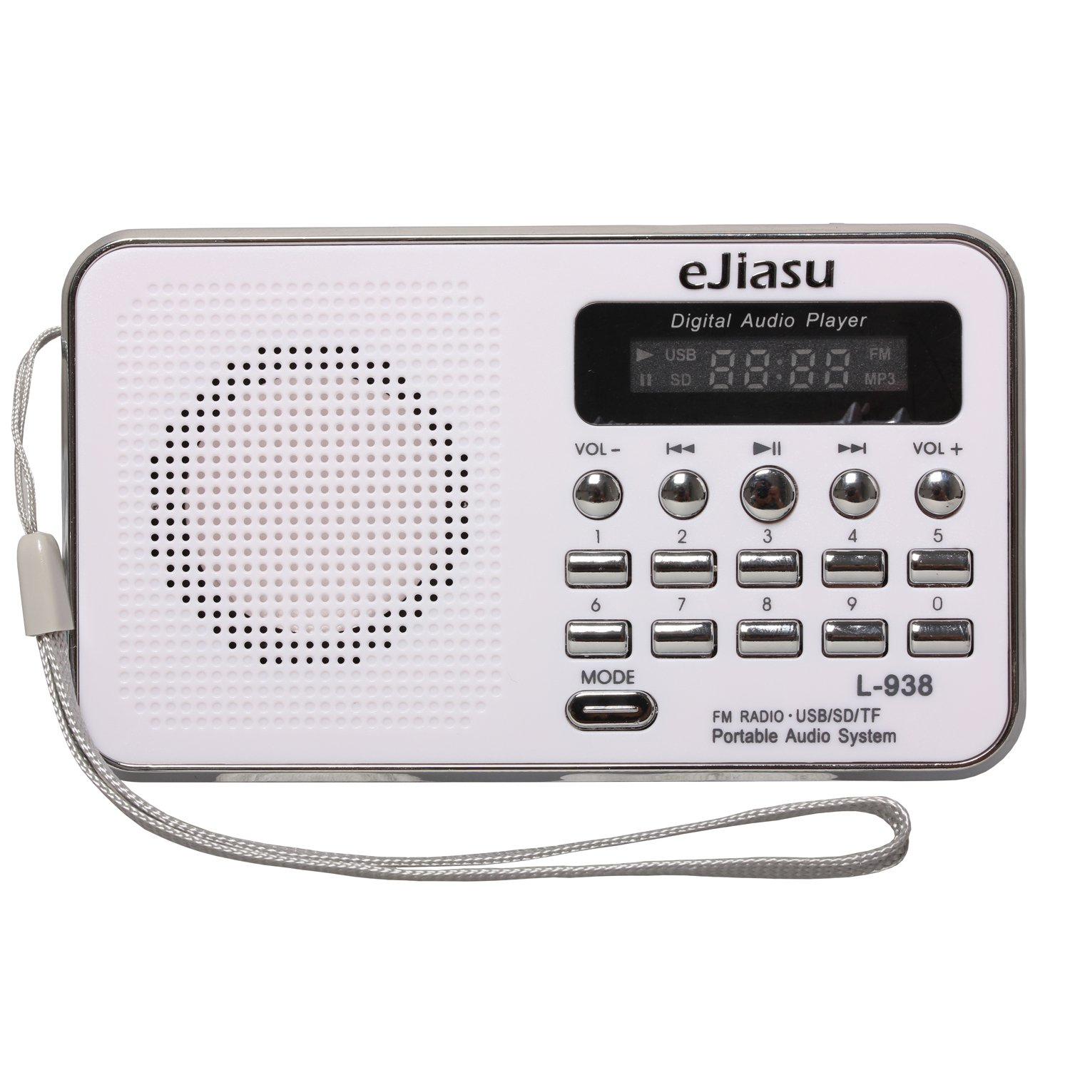 Portable Rechargeable Radio, eJiasu Small Radio Mini Digital FM Radio Battery Radio Support MP3 Player TF SD Card USB Port LED Screen Display Flashlight Rechargeable Battery(white)
