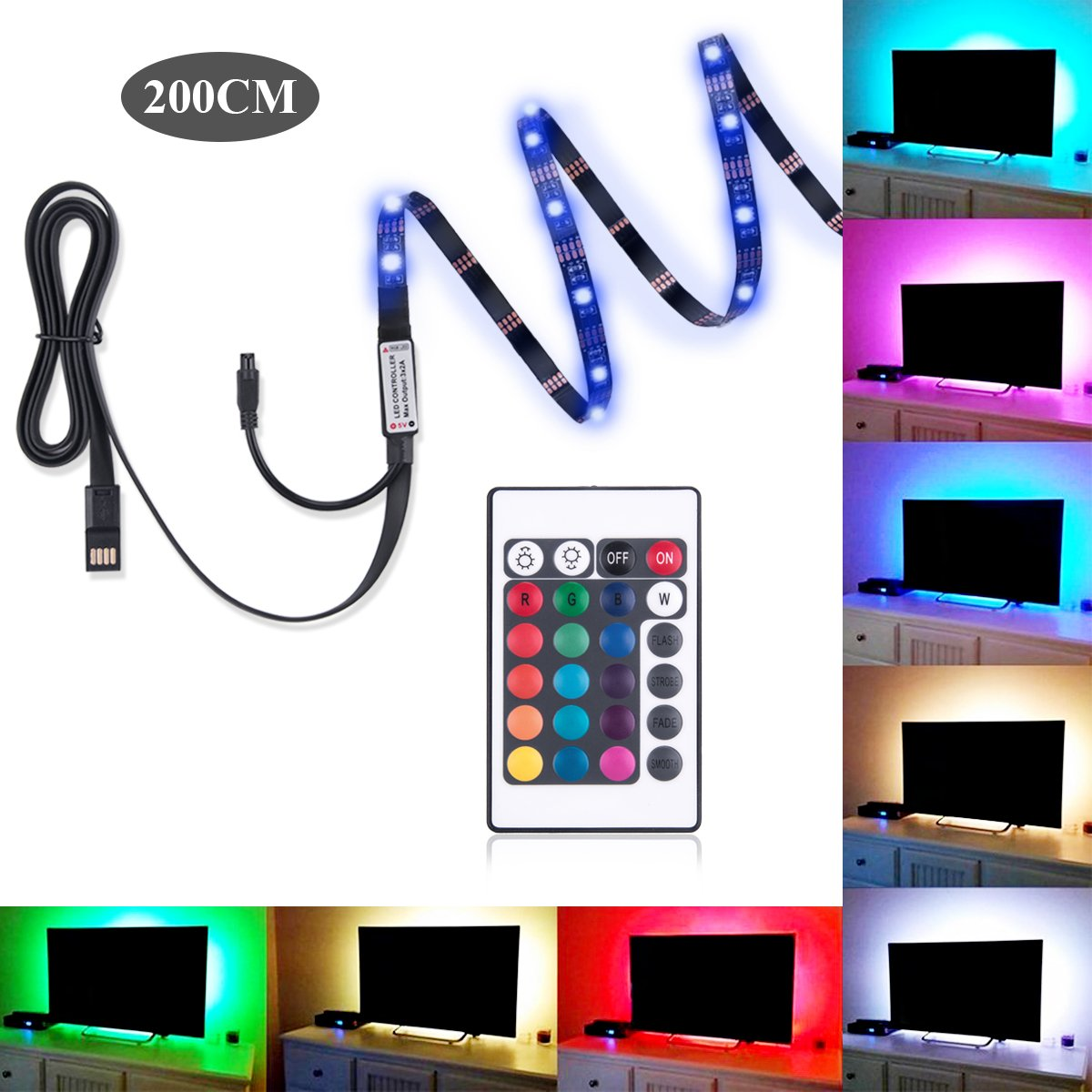 Bias Lighting for HDTV Ashine TV Backlight 5050 RGB Color Changing LED Strip Lights USB Powered Background Lighting for Flat TV Screen 78 Inches