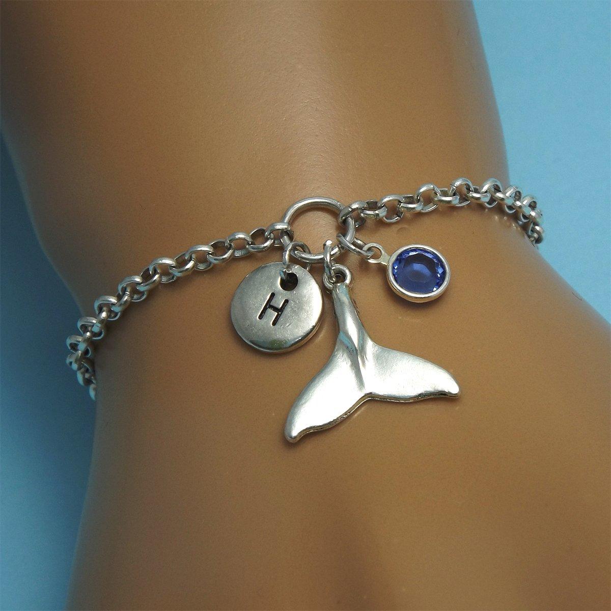 Adjustable NEW silver Whale Tail Bracelet,waterproof,Surfer,Beach,Adjustable gif