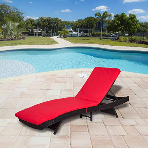 Kinsuite Outdoor Chaise Lounge Chair Adjustable Backrest PE Poolside Lounge Chairs w Cushion