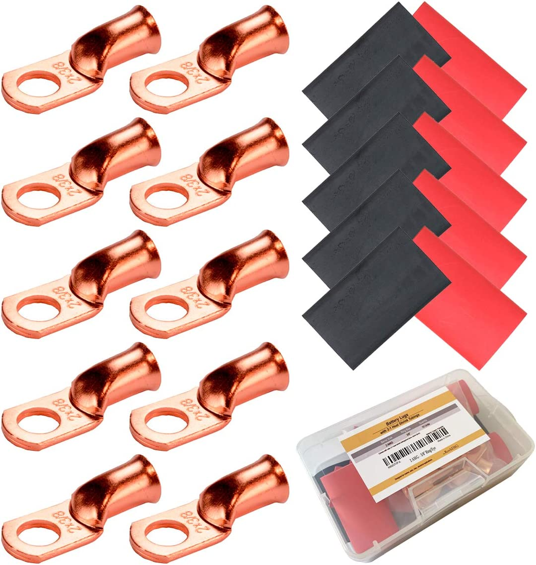 Black, Red RockDIG Heavy Duty Copper Wire Lugs Bare Copper Eyelets Tubular Ring Terminal Connectors with Heat Shrink Battery Cable Ends
