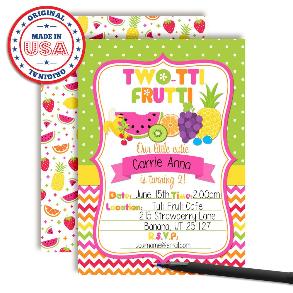 Tutti Frutti Sweet And Juicy 2nd Birthday Party Invitations 20 5x7 Fill In Cards With Twenty White Envelopes By AmandaCreation