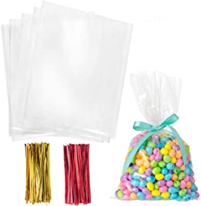 Cellophane Treat Bags,6x9 Inches Clear Cellophane Bags 200 Pcs OPP Plastic Treat Bags with 200 Twist Ties for Gift Wrapping,Packaging Candies,Dessert,Bakery, Cookies, Chocolate,Party Favors
