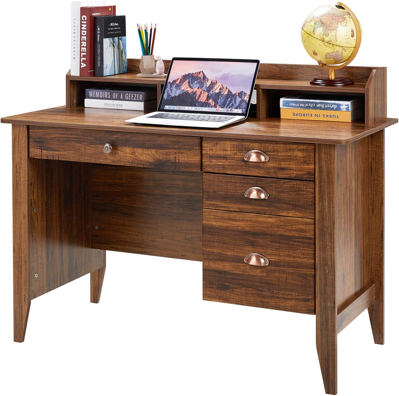 Kealive Computer Desk with 4 Drawers and Hutch Shelf, Executive Desk Home Office Desk Writing Sturdy PC Laptop Notebook Desk, Spacious Desktop Vintage Style Golden Cherry