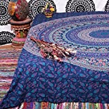 #7: Popular Handicrafts Hippie Mandala elephant peacock Bohemian Psychedelic Intricate Floral Design Indian Bedspread Magical Thinking Tapestry 84x90 Inches,(215x230cms) Neavy blue