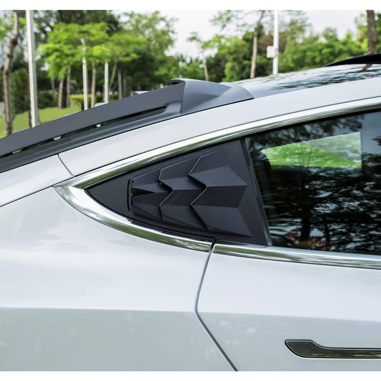 Sunluway for Tesla Model 3 2017 2018 2019 Quarter Side Window Louvers Matte Black ABS Window Visor Sun Shade Cover Vent(2 pcs)