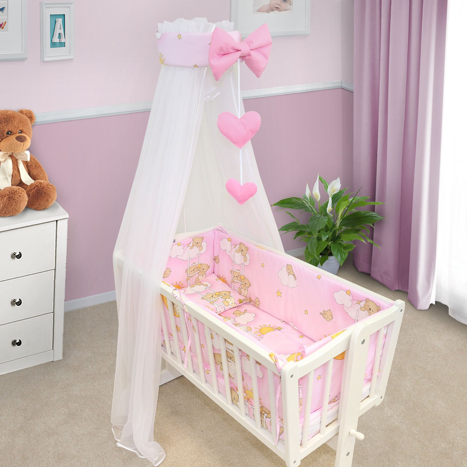 BABY BEDDING SET CRIB CRADLE 10 Pieces PILLOW DUVET COVER BUMPER CANOPY to fit Crib 90x40cm 100% COTTON (Ladder cream) TheLittles24