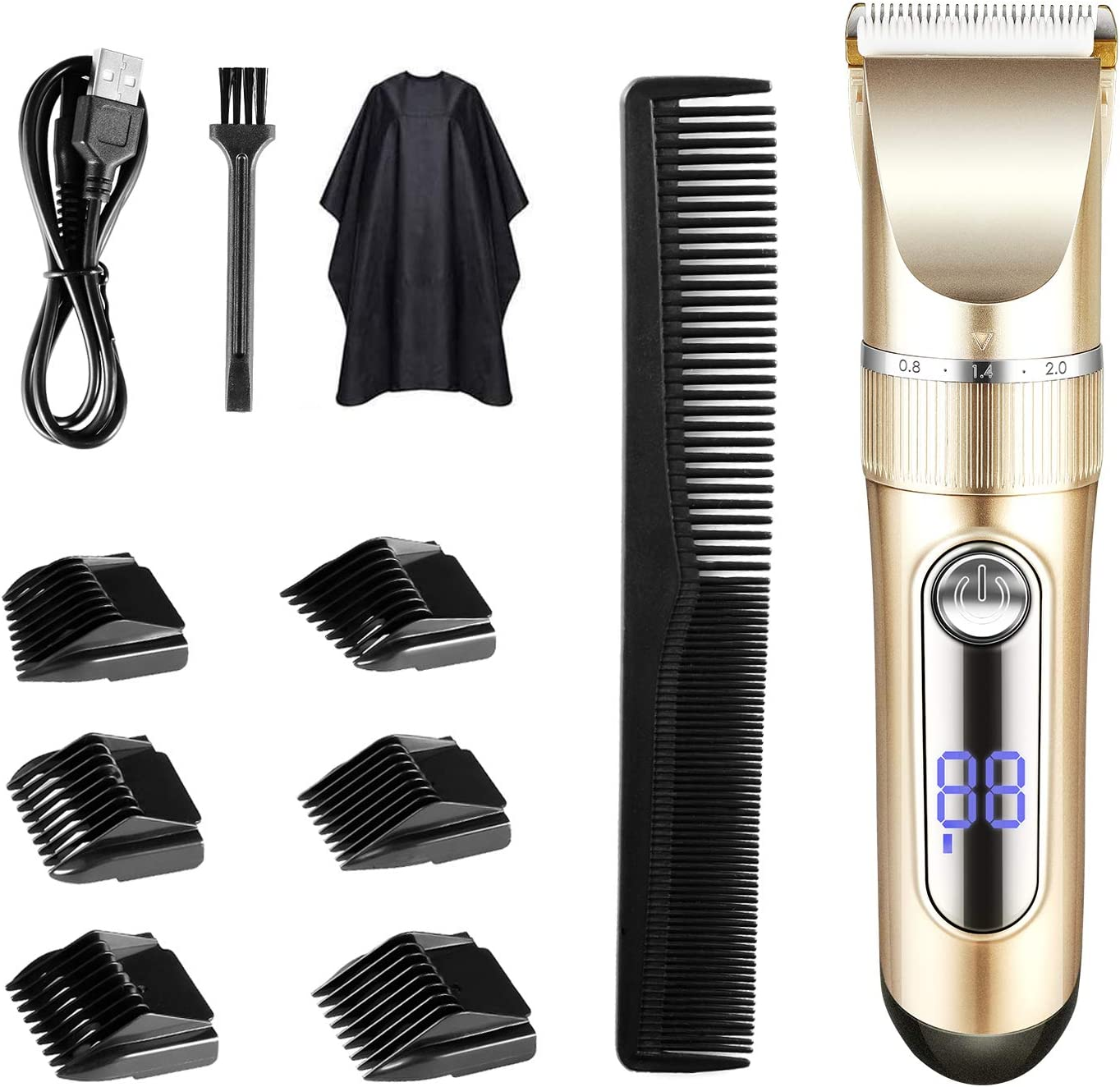 TTLIFE Cortar el pelo Pantalla LED recargable inalámbrica para cortapelos con 6 peines guía (dos modos son adecuados para adultos y niños)
