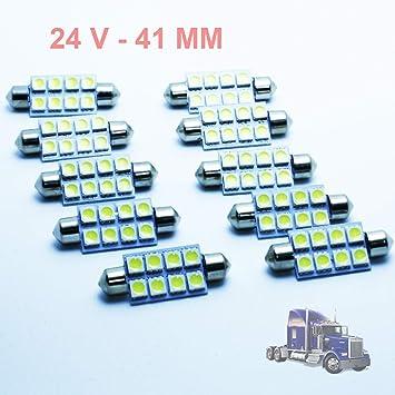 GV 10x Bombillas Camiones C5W 24V 41MM White 6000K LED Lamp Lorry Truck 41 Festoon SV8.5